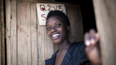 Rwanda. DAFI student at home in Kigeme camp before heading to university