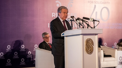 UN Secretary-General António Guterres speaks at the Refugee Summit in Islamabad, Pakistan.