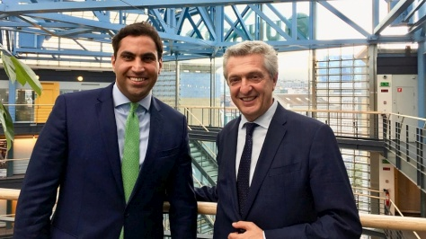 Switzerland. UN High Commissioner for Refugees, Filippo Grandi meets with Secretary-General of the World Organization of the Scout Movement, Ahmad Alhendawi